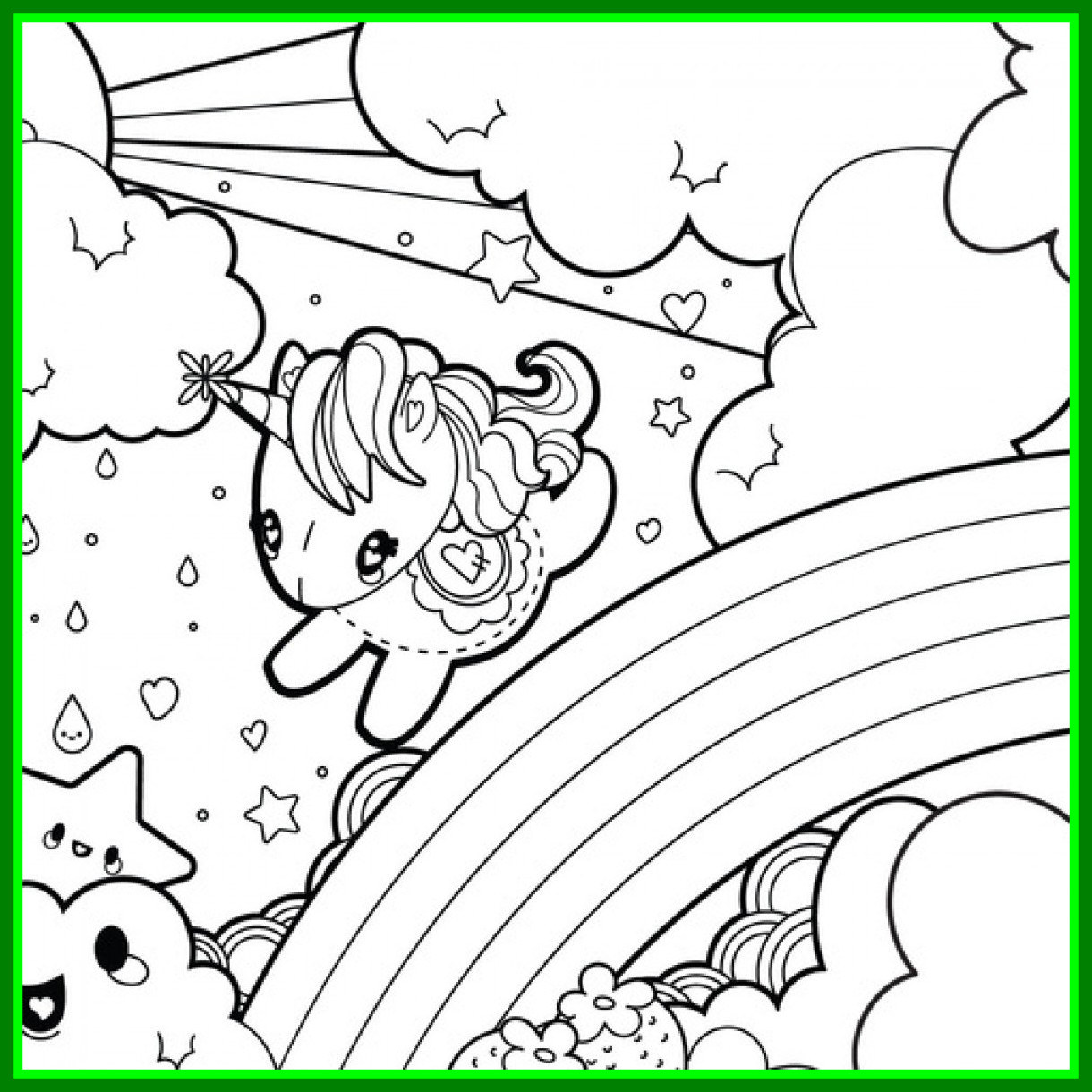 1220x1220 Marvelous Baby Unicorn Coloring Pages For Kids Pleasing Kawaii