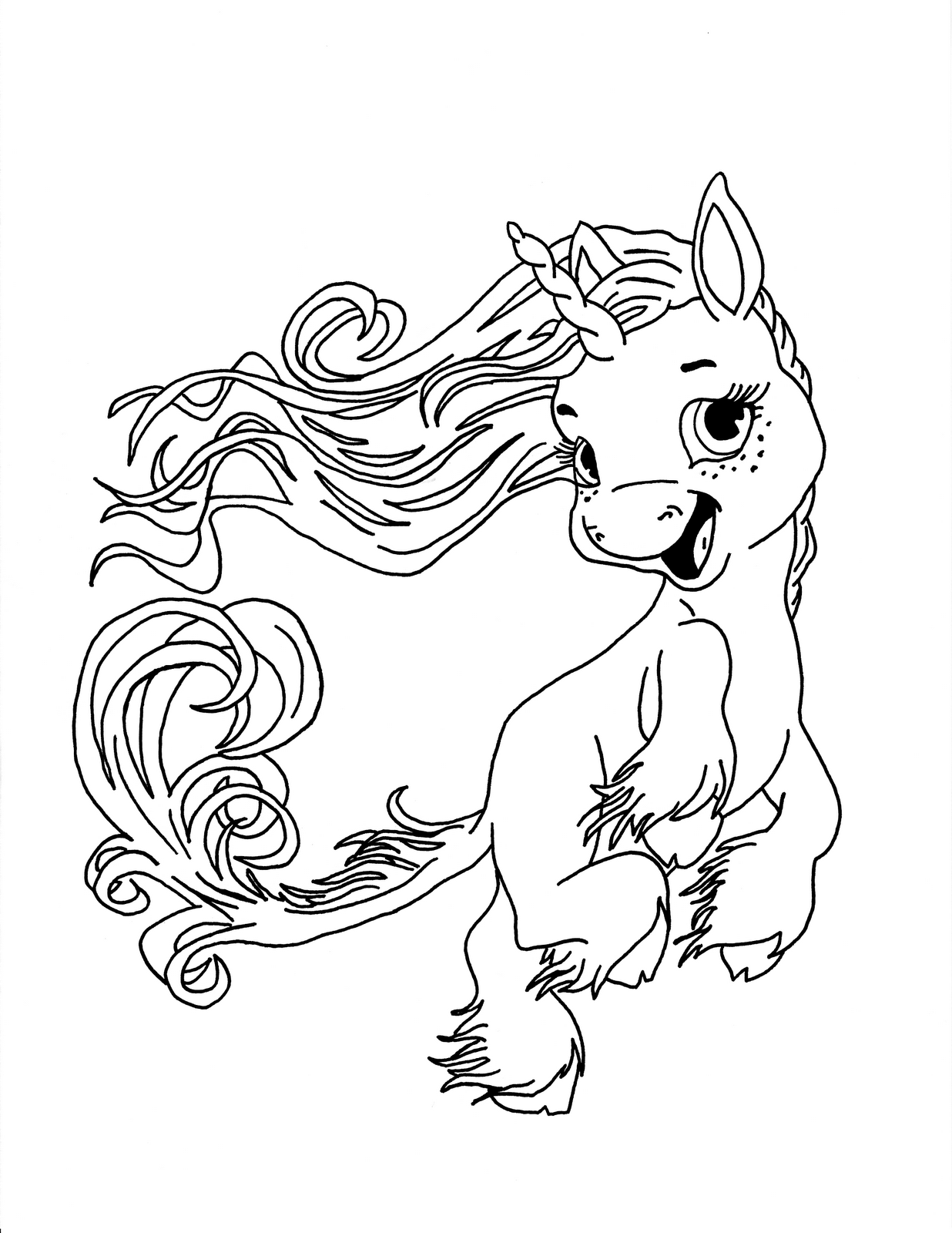 1236x1600 Baby Unicorn Coloring Page