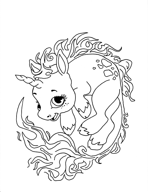 500x647 Unicorn Coloring Pages