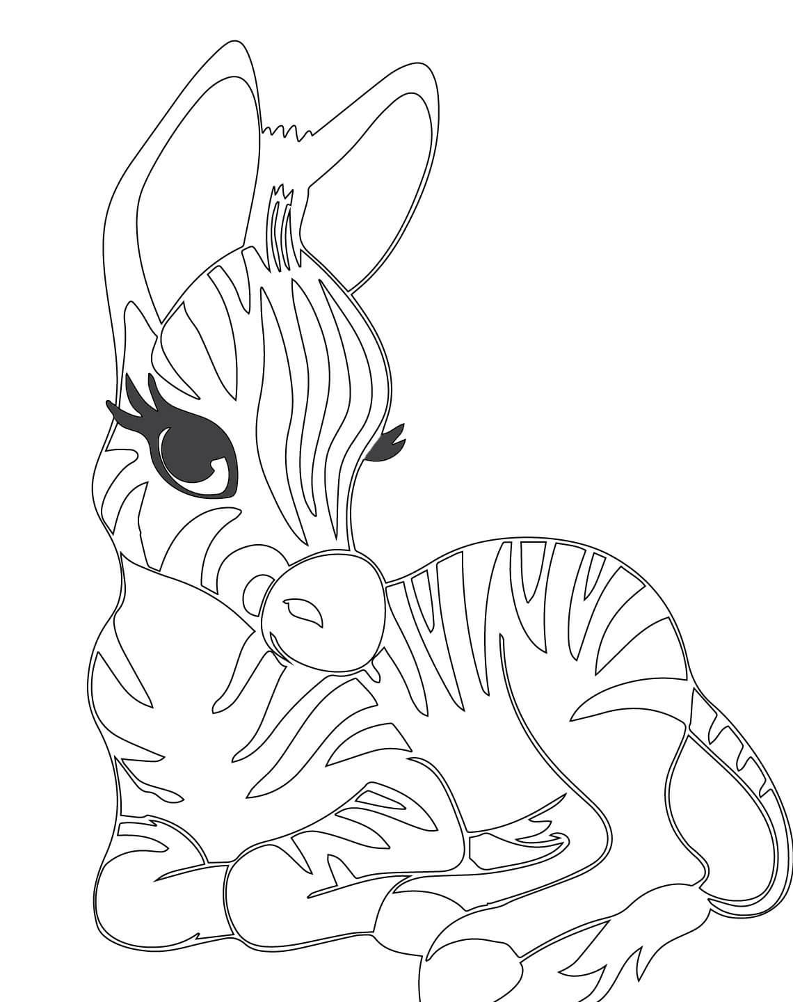 1140x1440 Cute Baby Zebra Coloring Page Clipart