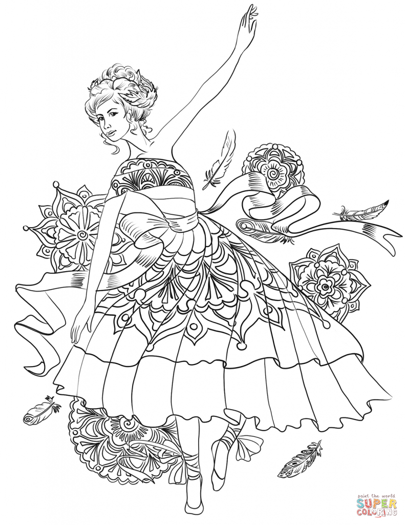 791x1024 Impressive Ballerina Coloring Pages With Dancer Ballet Free