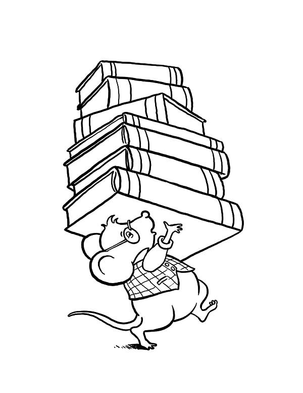 600x776 Library Mouse Brought Lot Of Book
