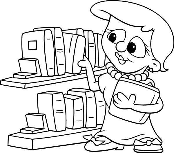 600x527 Picking Book In The Library Coloring Pages