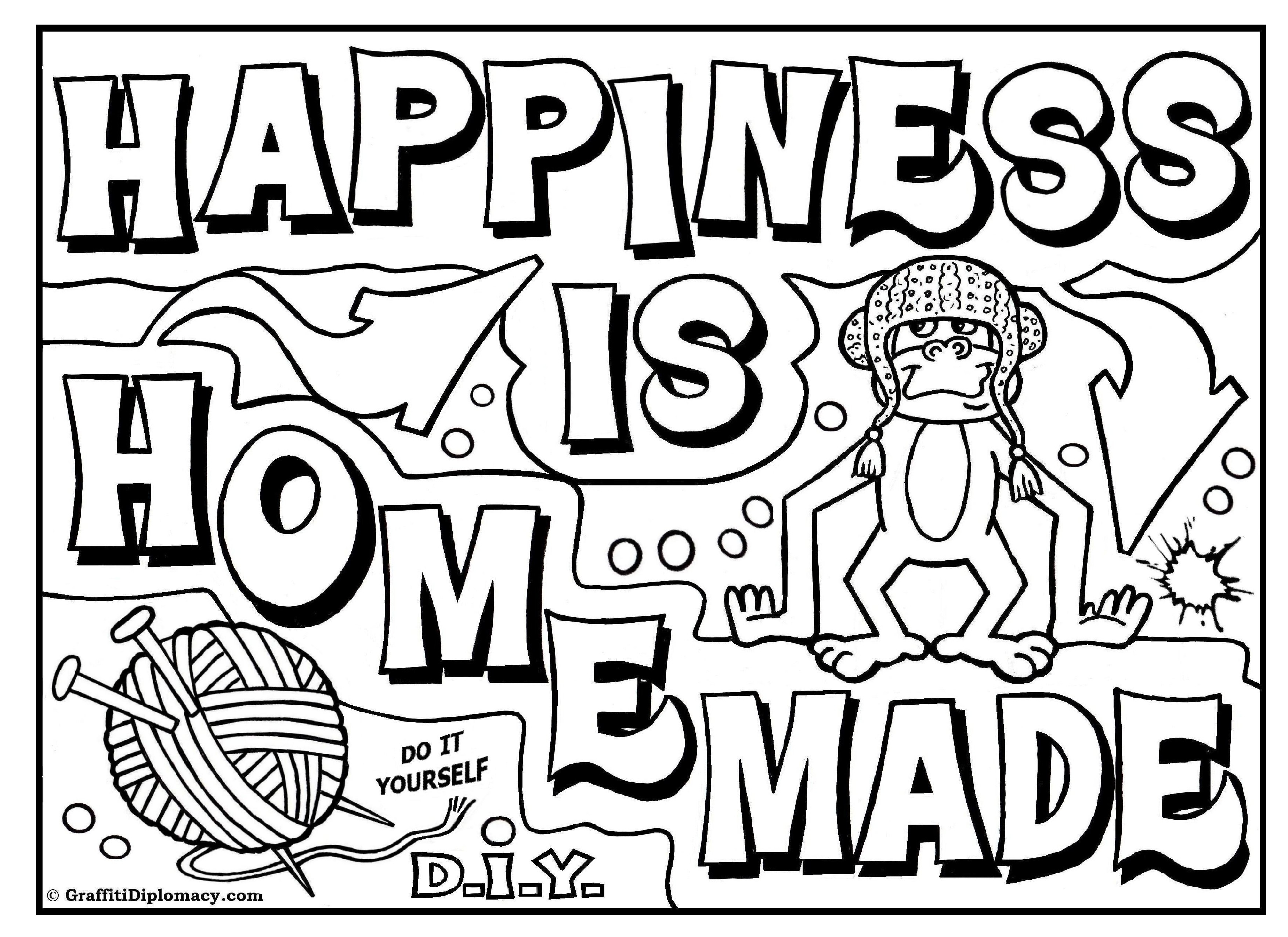 3508x2552 Happiness Is Homemade Within Coloring Pages Of Bubble Letters