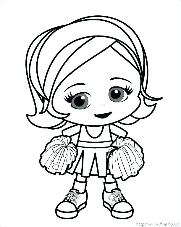 612x767 Cheerleading Coloring Page A Girl Cheerleader Coloring Page