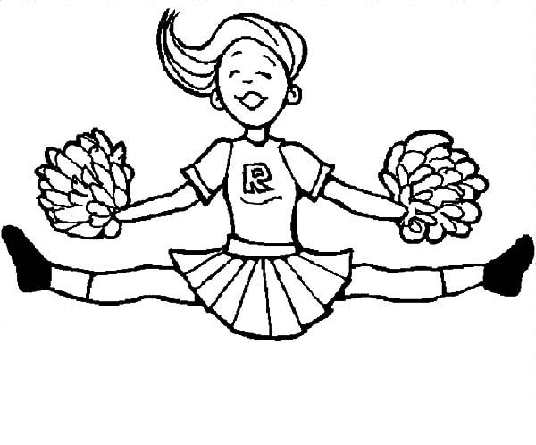 600x498 Cheerleader Doing Split Coloring Pages Cheerleader Doing Split