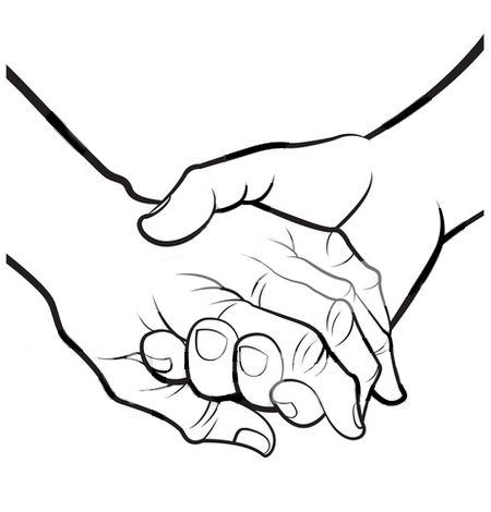 450x470 Super Idea Holding Hands Clipart Christmas Coloring Pages Two Kids