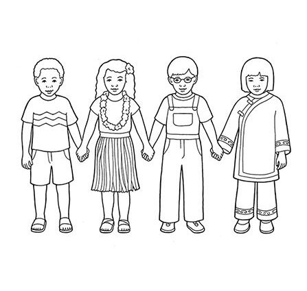 447x425 Children Holding Hands Coloring Page A Line Drawing Showing Four