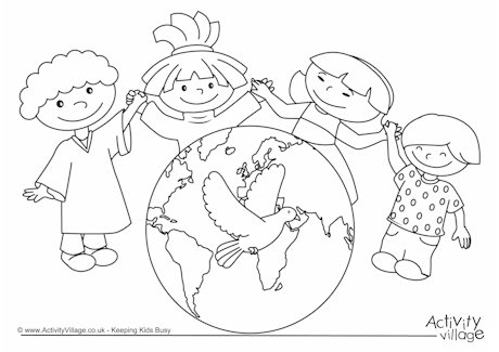 460x325 Children Holding Hands Coloring Page Day Colouring Page