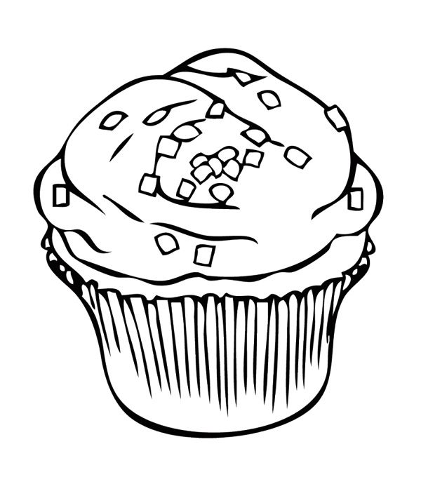 600x680 Cupcake With Square Sprinkles Coloring Page Cookie