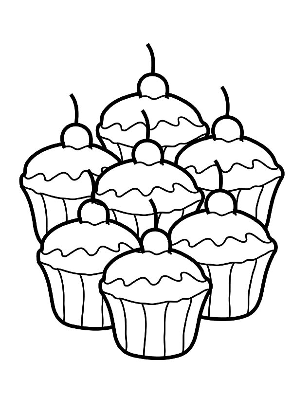 600x849 Seven Cupcakes Coloring Pages