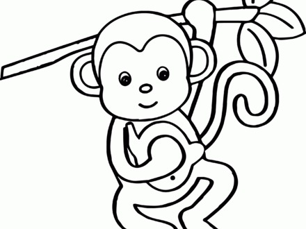 Coloring Pages Of Cute Baby Monkeys