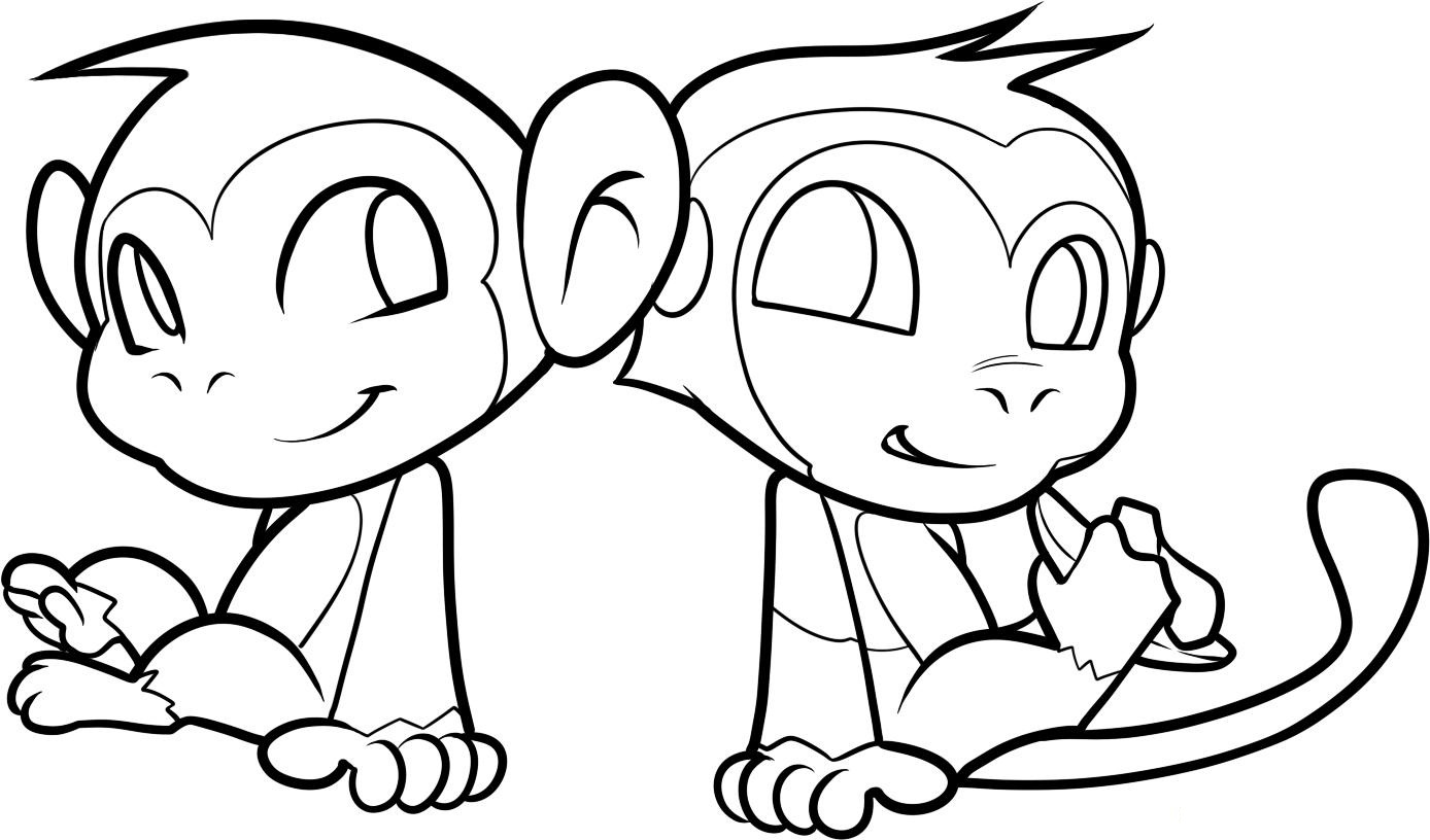 1388x816 Cute Baby Monkey Coloring Pages