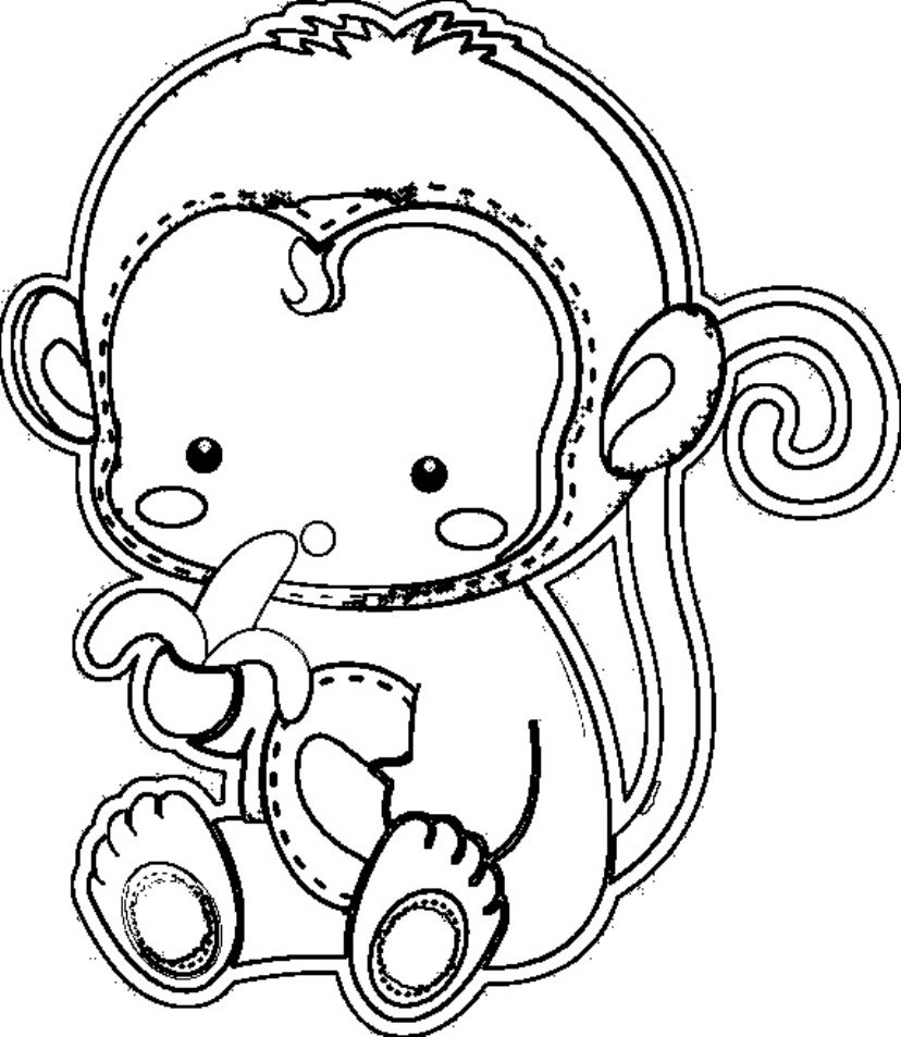 828x953 Cute Monkey Coloring Pages For Kids Printable In Of Baby Monkeys