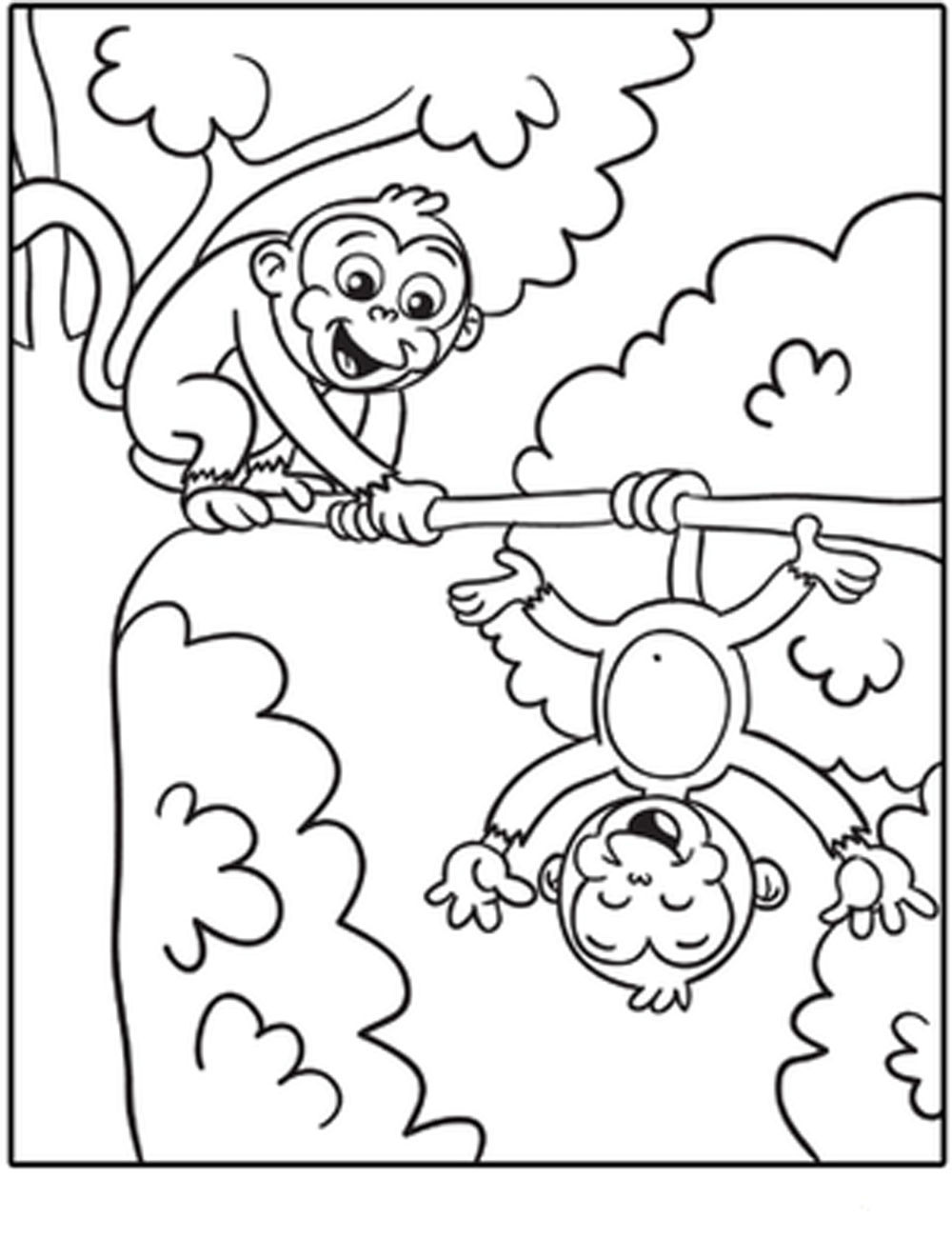 1000x1322 Strong Coloring Pages Of Monkeys Value Cute Ba