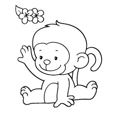 230x230 Tremendous Cute Baby Monkey Coloring Pages