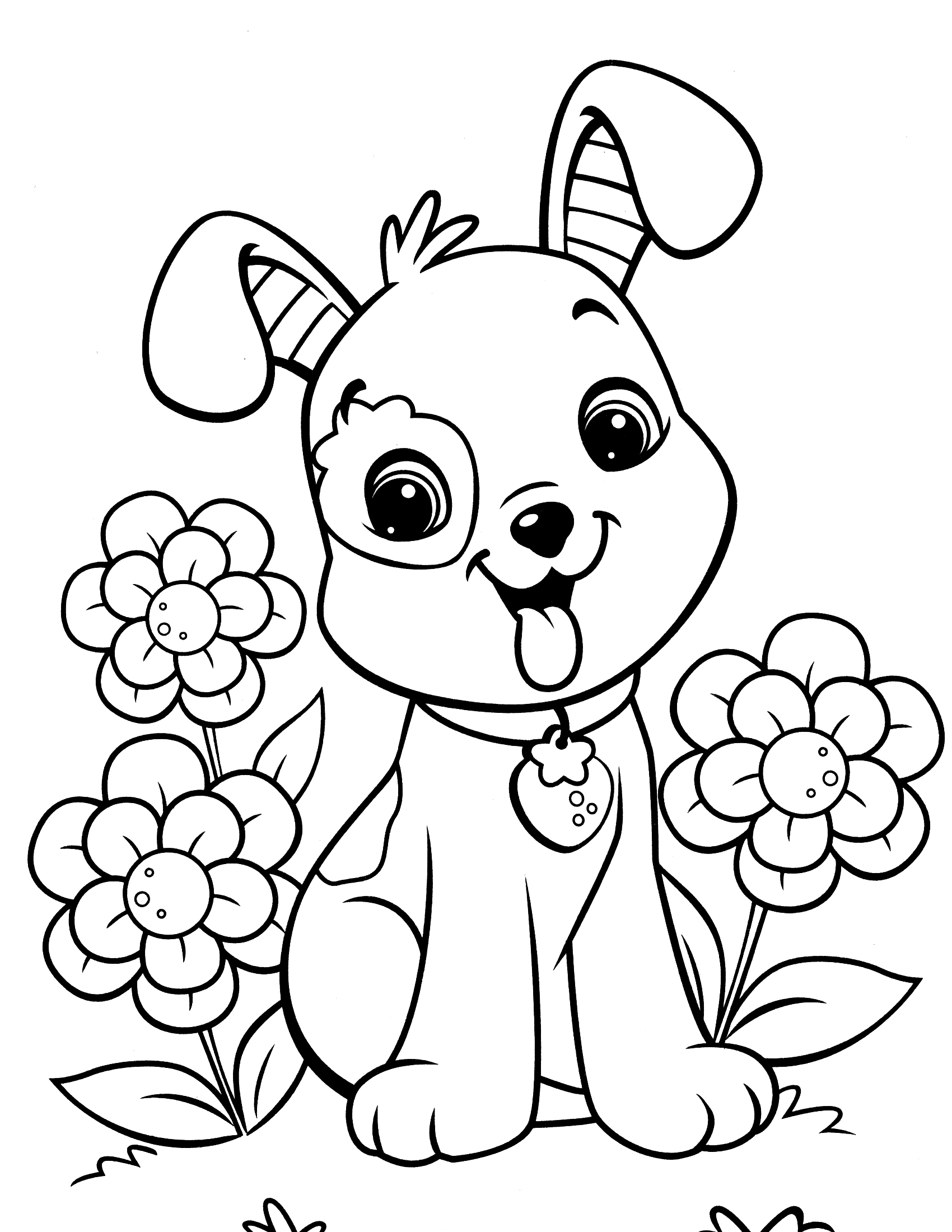 1700x2200 Instructive Coloring Pages Of Cute Dogs And Puppies Printa