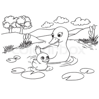 320x320 Cartoon Cute Duck Coloring Page Vector Illustration Stock Vector