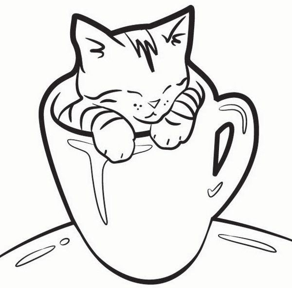600x592 Lovely Kitten Coloring Pages