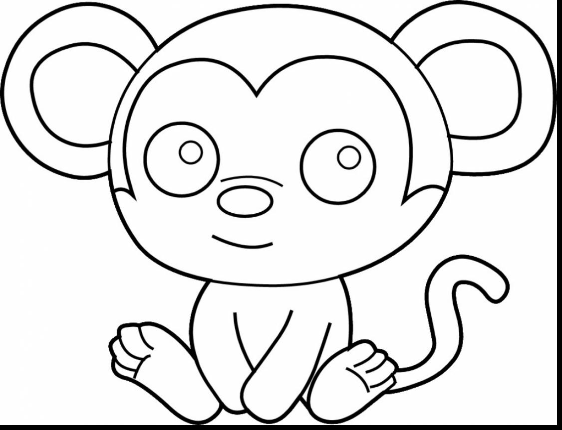 1126x863 Incredible Cute Monkey Coloring Pages With Baby Animal