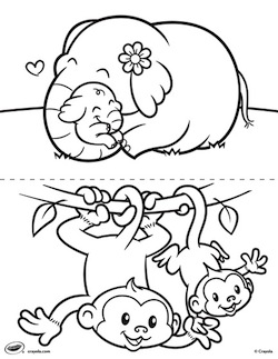 250x323 Interesting Baby Animal Coloring Pages Drawn Cute Monkey Pencil