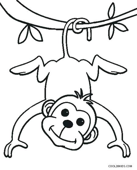 450x559 Monkey Color Page Monkey Coloring Pages Cute Monkey Color Pages