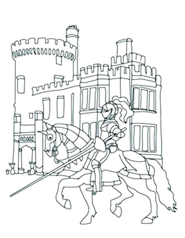 600x773 Disney Castle Coloring Pages Free And Princess Knights In Front