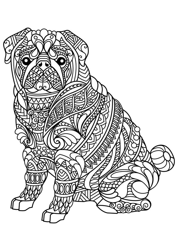 736x1040 Adult Coloring Pages Dogs Colouring For Funny Print Printable