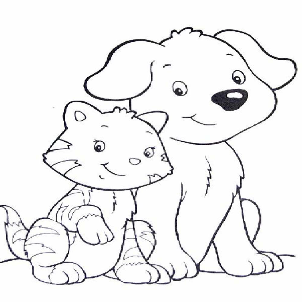 1000x1000 Merry Dogs And Cats Coloring Pages For Kids Of Raining Printable