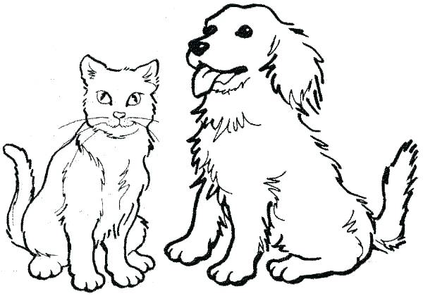 600x420 Cat Dog Coloring Pictures Pages Free Beagle Printable P