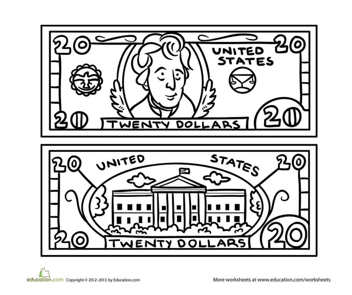 1426x1196 Twenty Dollar Bill Coloring Page Twenty Dollar Bill, Worksheets