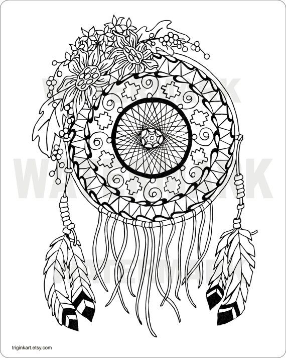 570x712 Sunflower Dream Catcher Adult Coloring Page Adult Coloring