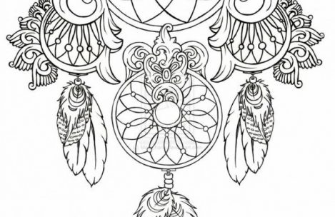 469x304 Dream Catcher Coloring Pages For Adults Just Colorings