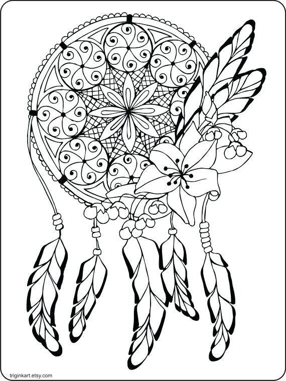 570x759 Dream Catcher Coloring Pages Dream Catcher Adult Coloring Page