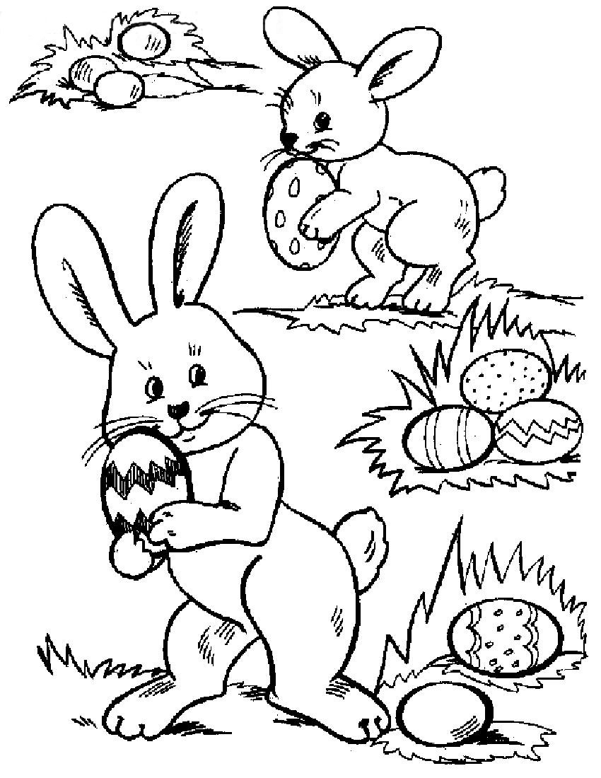 Coloring Pages Of Easter Eggs And Bunnies