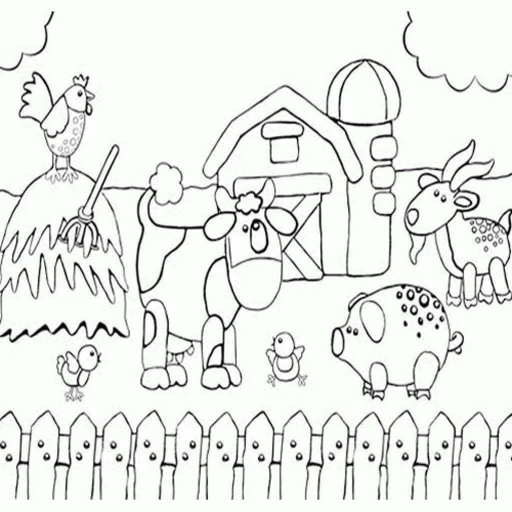1024x1024 Printable Preschool Coloring Page Of Happy Farm Animals Fun