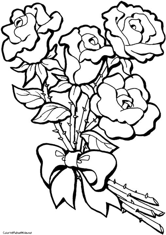 550x780 Rose Flower Coloring Pages