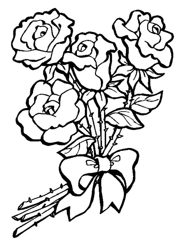 600x808 Bouquet Of Roses Coloring Pages Flower Bouquet Of Roses Coloring