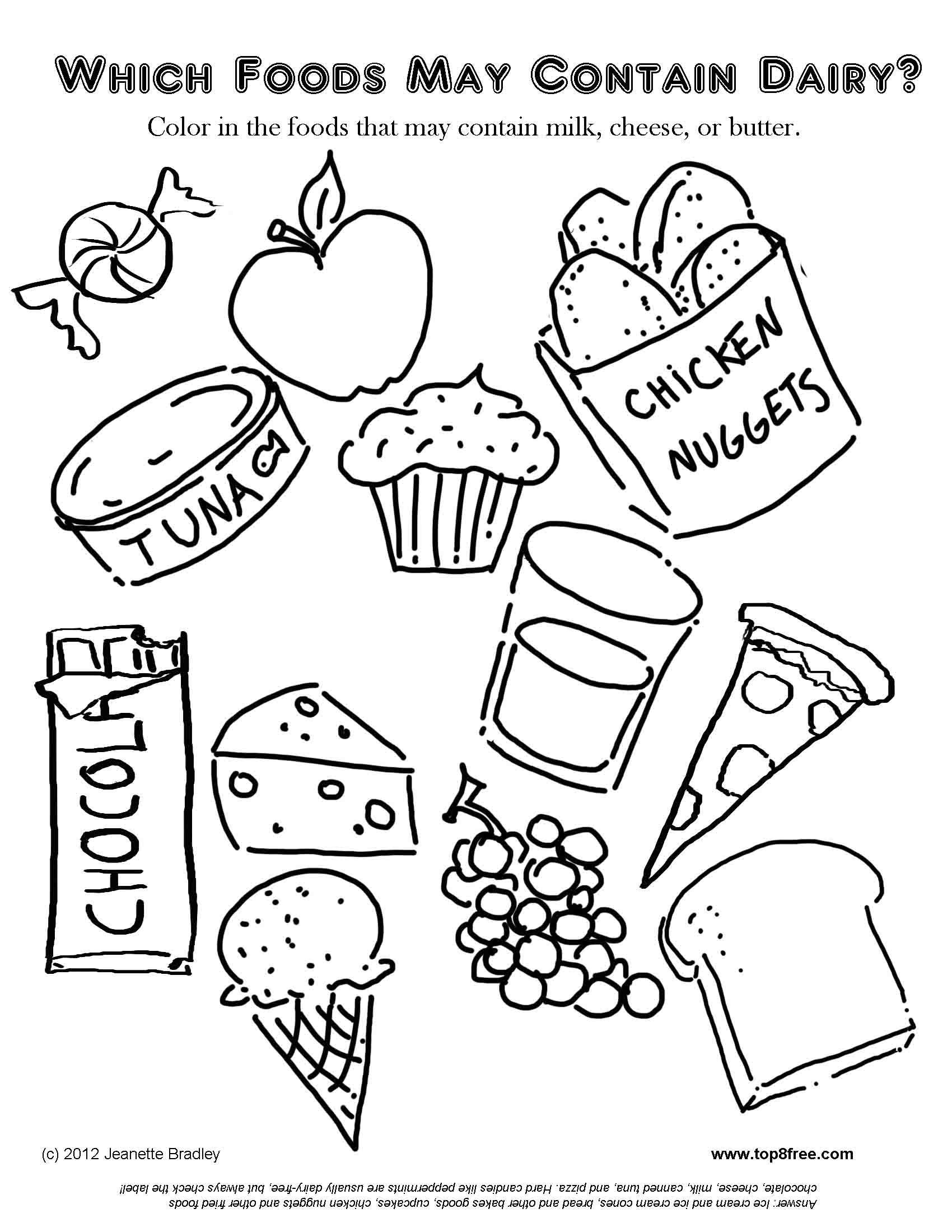 1700x2200 Free Coloring Pages Food Items Picnic Printabl
