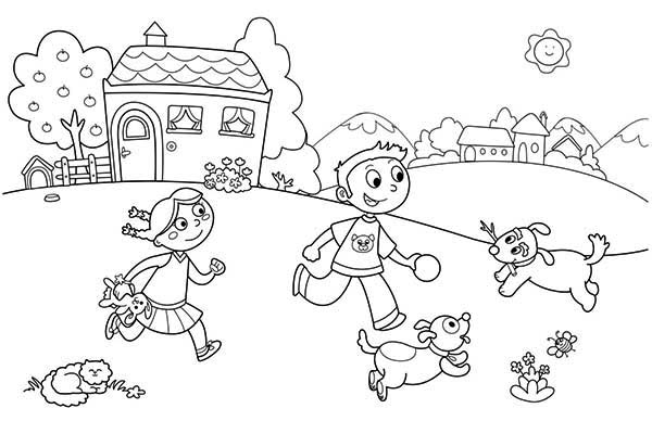 600x388 Playing With Friends And Pets On Summertime Holiday Coloring Page