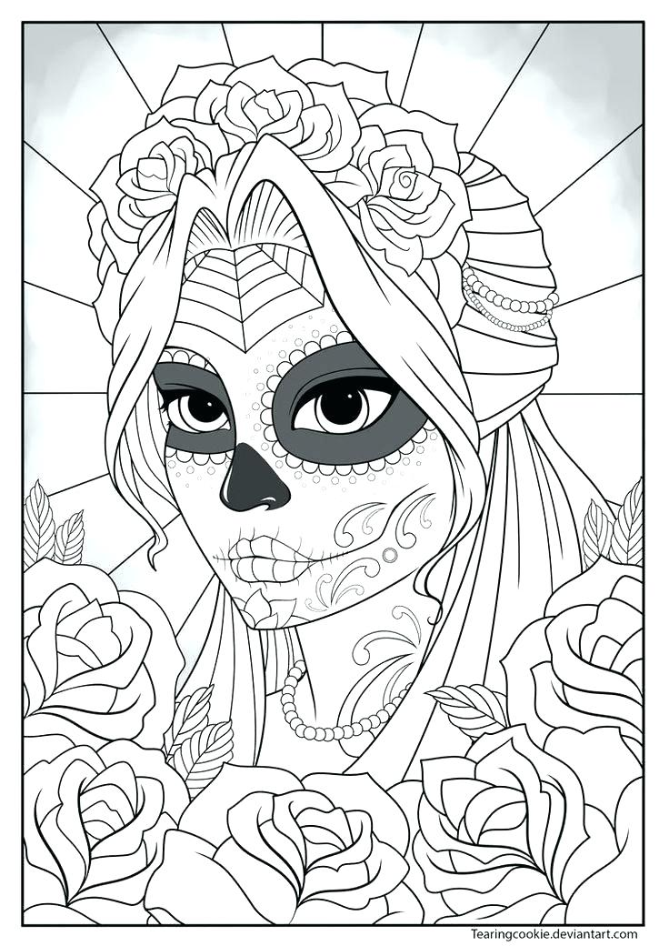 736x1040 Girl Face Coloring Page Girl Face Coloring Pages Day Of Dead Skull