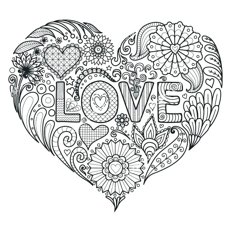 736x721 Coloring Pages Of Flowers And Hearts Hearts And Flower Coloring