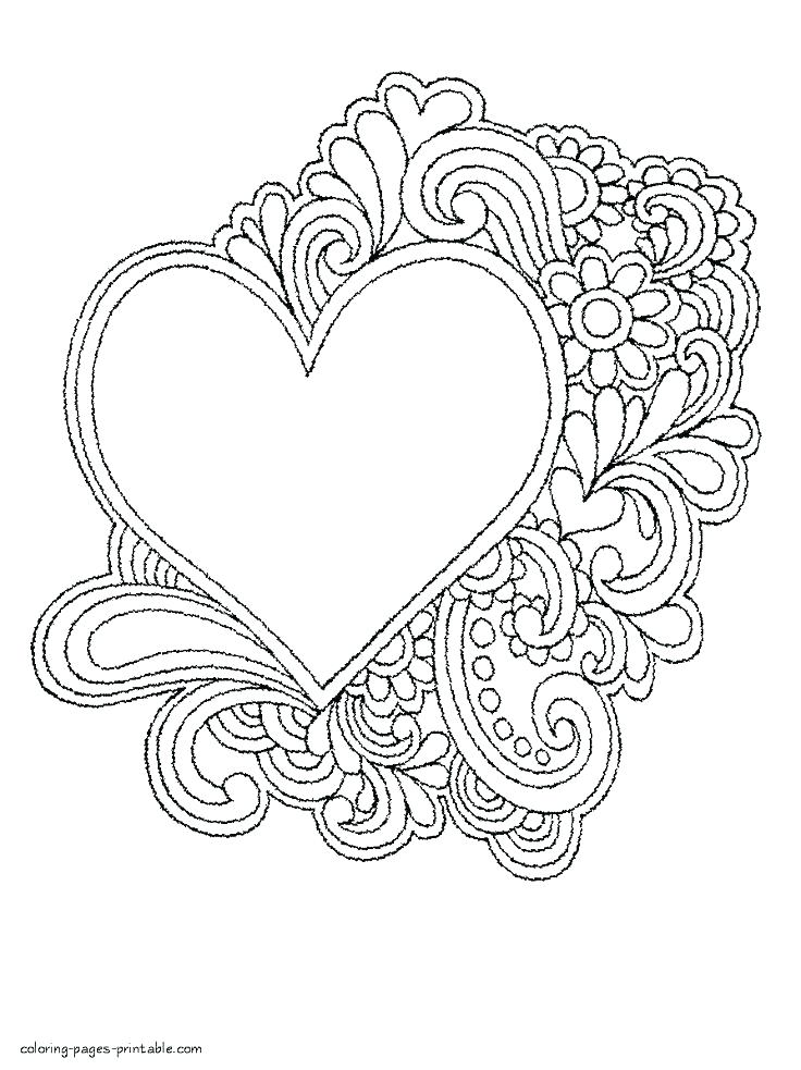 736x983 Coloring Pages Of Hearts Astounding Hearts Printable Coloring