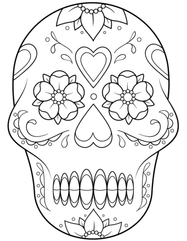 373x480 Flower Heart Coloring Pages Sugar Skull With Flowers