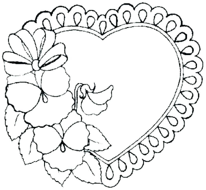 878x807 Flowers And Hearts Coloring Pages Roses And Hearts Coloring Pages