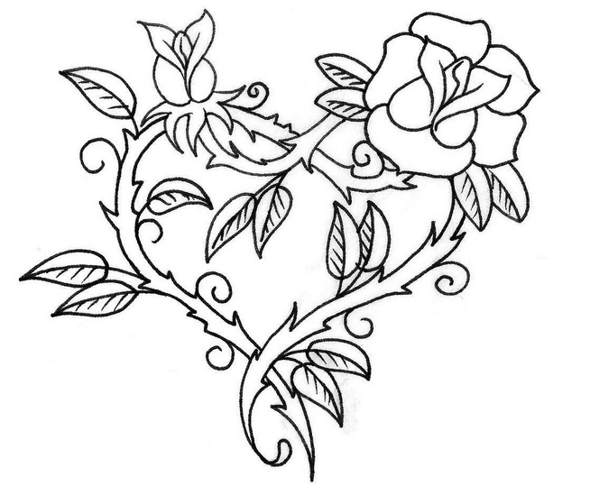 654x539 Heart With Roses Coloring Pages
