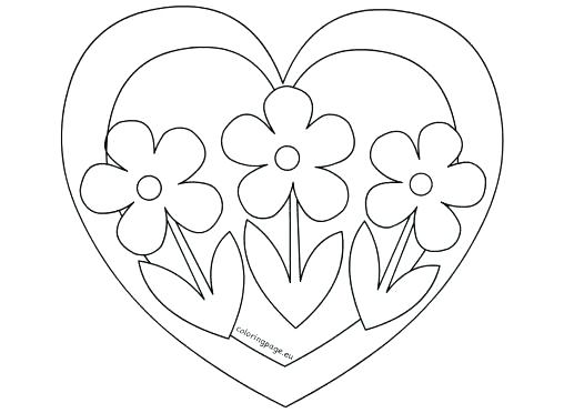 508x372 Coloring Pages Flowers And Hearts Coloring Page Of Heart Heart