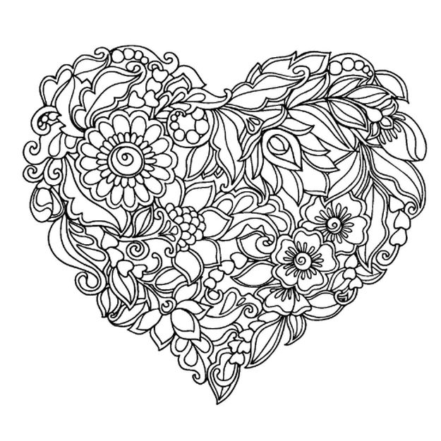 625x625 Coloring Pages Of Flowers And Hearts Flower And Hearts Coloring