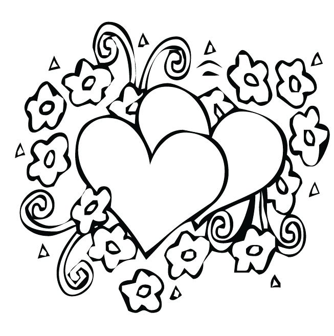 653x657 Coloring Pages Hearts And Flowers