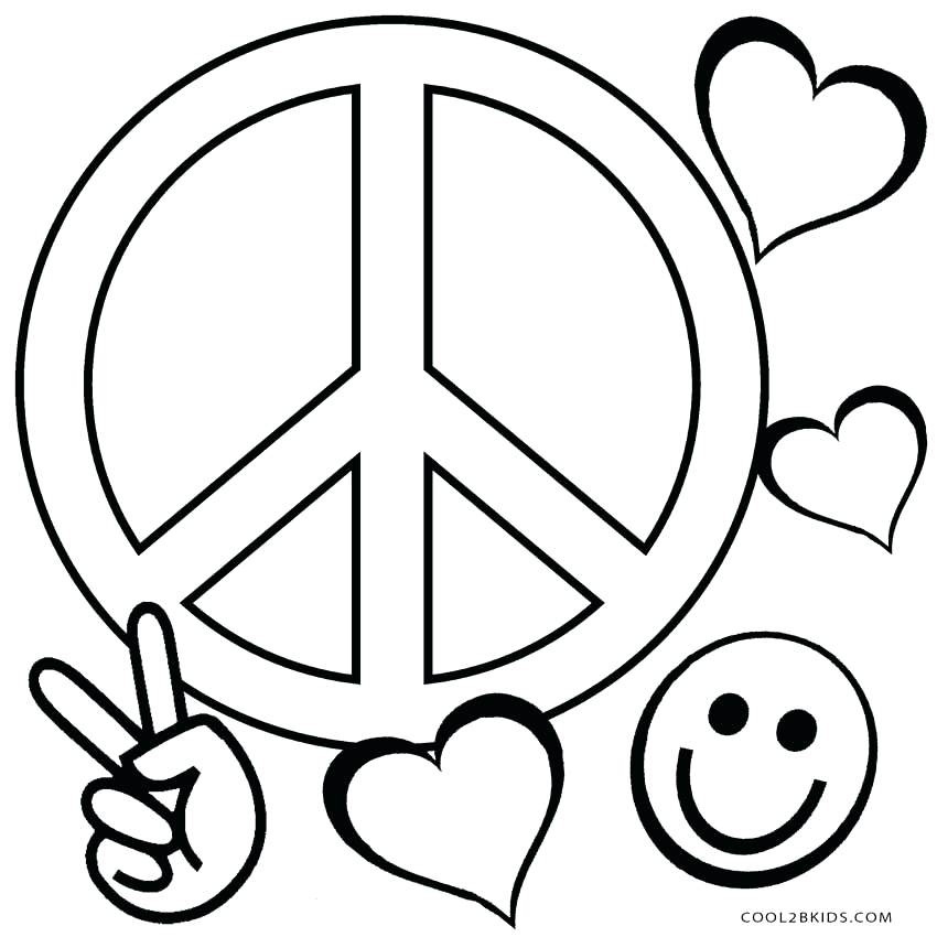 850x850 Coloring Pages Peace Sign Free Printable Peace Sign Coloring Pages